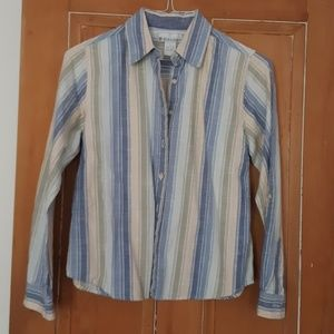 Blue, sage and tan striped button down blouse